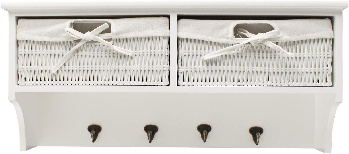 KingSaid Hallway Wall Coat Hook Display Storage Unit White 4 Hooks and 2 Woven Baskets Wall Storage Drawers Shelf
