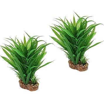 B Blesiya 2 Pcs Planta de Terrario Plástico Reptiles Complimentos Pecera Acuario Plantado Fácilmente Cómodo
