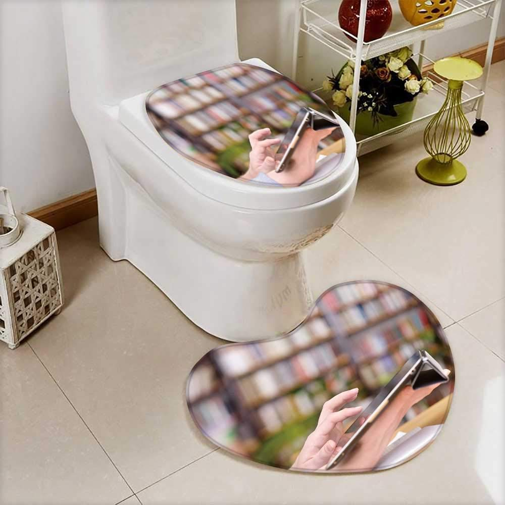 Printed Bath Heart shaped foot pad Set hands typing on tablet in college class Toilet cushion suit