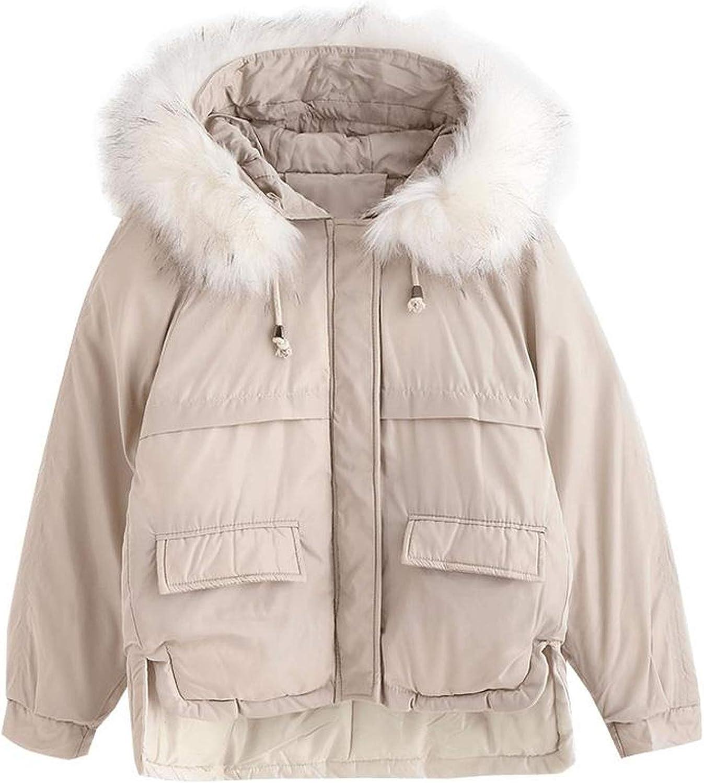 Winter Women/'s Parka Coat Down Cotton Warm Fur Collar Hooded Long Jacket Outwear