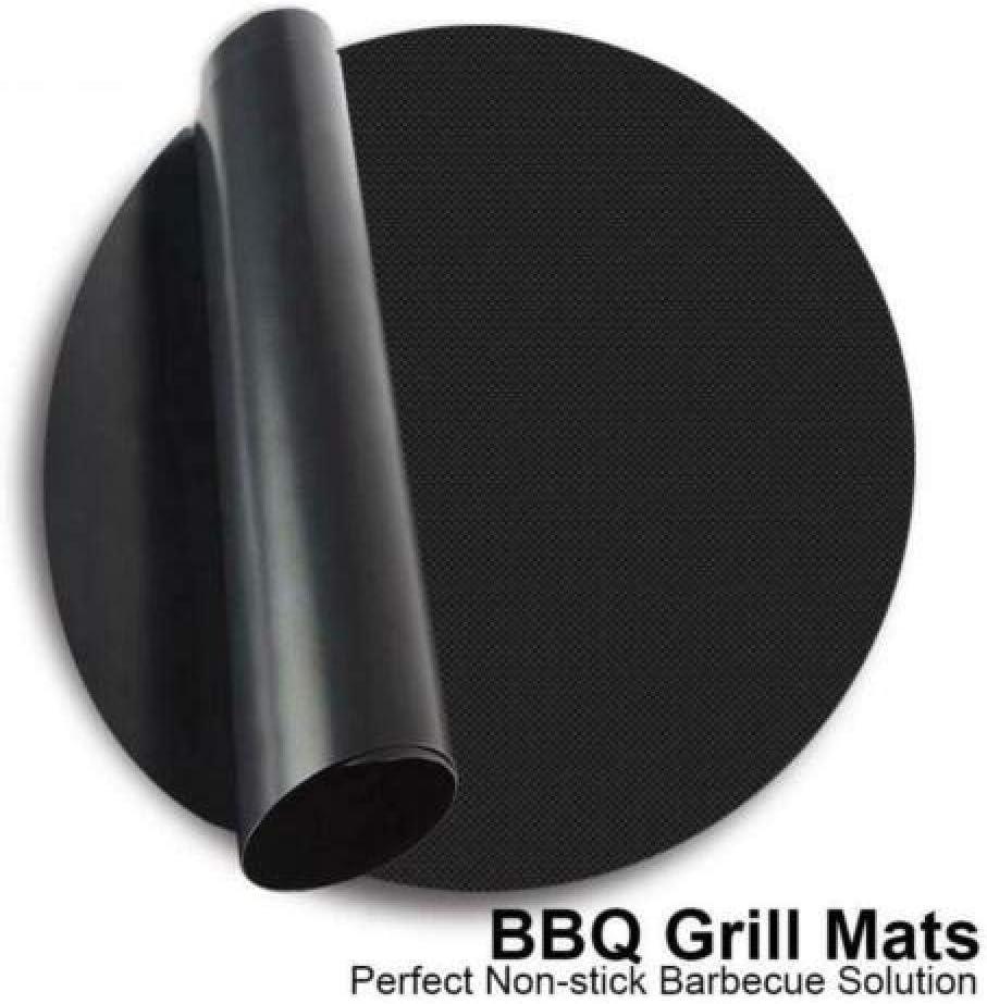 showsing Tapis de Barbecue Tapis de Cuisson Grill, Tapis de Grill Antiadhésif BBQ Feuilles de Cuisson Réutilisable et Résistant pour Barbecue Round-6x (24cm) 4x (24cm)
