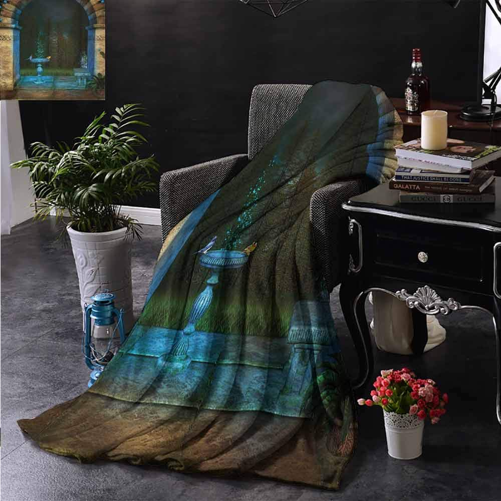 PCNBDJC Printed Blanket Gothic Forest Landscape from Ancient Archway Birds on Fountain Fairytale Illustration Easy to Care W54 x L84 Inch Blue Grey Green