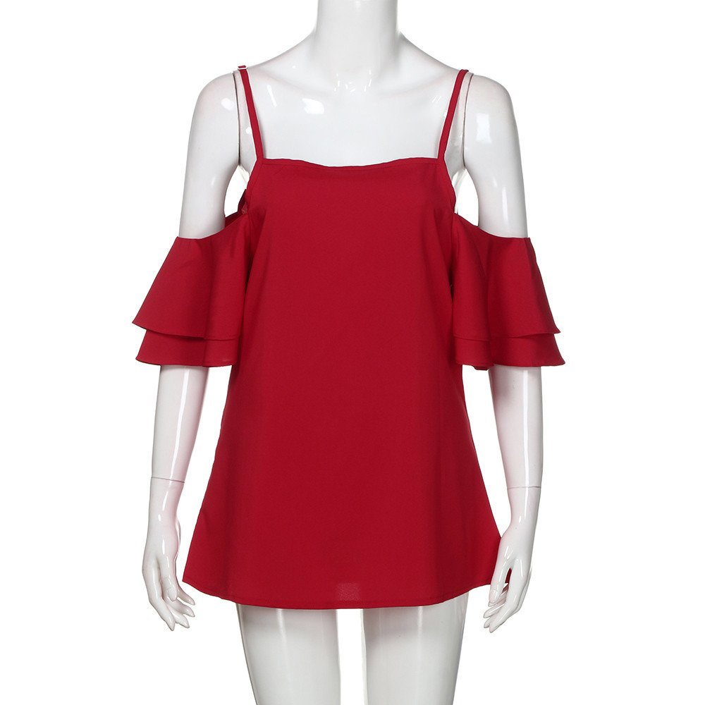 Libermall Women's Casual Summer Short Sleeve T-Shirts Sexy Halter Off Shoulder Loose Tunic Shirt Blouse Tops Red by Libermall Blouses (Image #3)