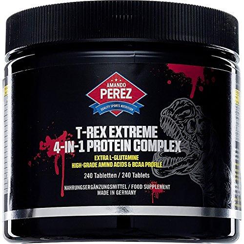 T-REX Extreme - 4 - in1 - Protein - Aminosäure Komplex - 240 Tabletten - Weizenprotein - Pea Protein-Isolat - Soja-Protein-Isolat - Milchprotein-Konzentrat - Kontinuierliche Proteinversorgung mit extra hochwertigem L-Glutamin