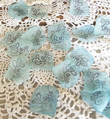 Wedding Silk rose petals , aqua Love, Aisle runner, Flower Girl Petals, Table Scatter, confetti
