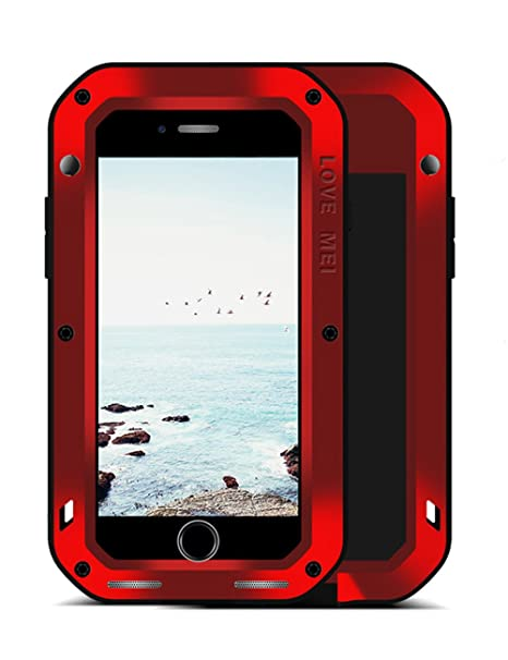 online retailer 42eaf 980b5 LOVE MEI iPhone 8/7 Plus Aluminium Metal Case, Gorilla Glass Shockproof  Dust Proof Military Grade Bumper Frame Heavy Duty Cover Shell Protector for  ...