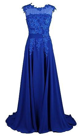 Endofjune Lace And Simple Sleeveless Chiffon Prom Dresses US-0 Royal Blue