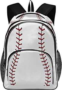 Red Stitching Baseball Backpack Softball Laces Bookbags College Students Daypack Three Layer Arc Laptop Backpacks with USB Charging Port School Book Bag for Teens Men Women Kids Boys Girls