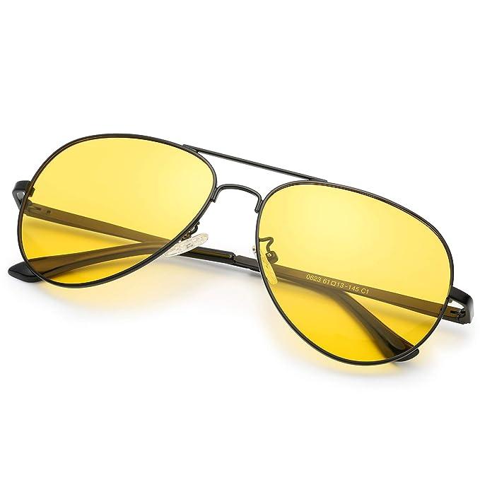 81b7c22448 Clásico Aviador HD Gafas de Visión para Conduccion Nocturna Hombre Mujer Polarizadas  Lente Amarilla Anti Reflectante