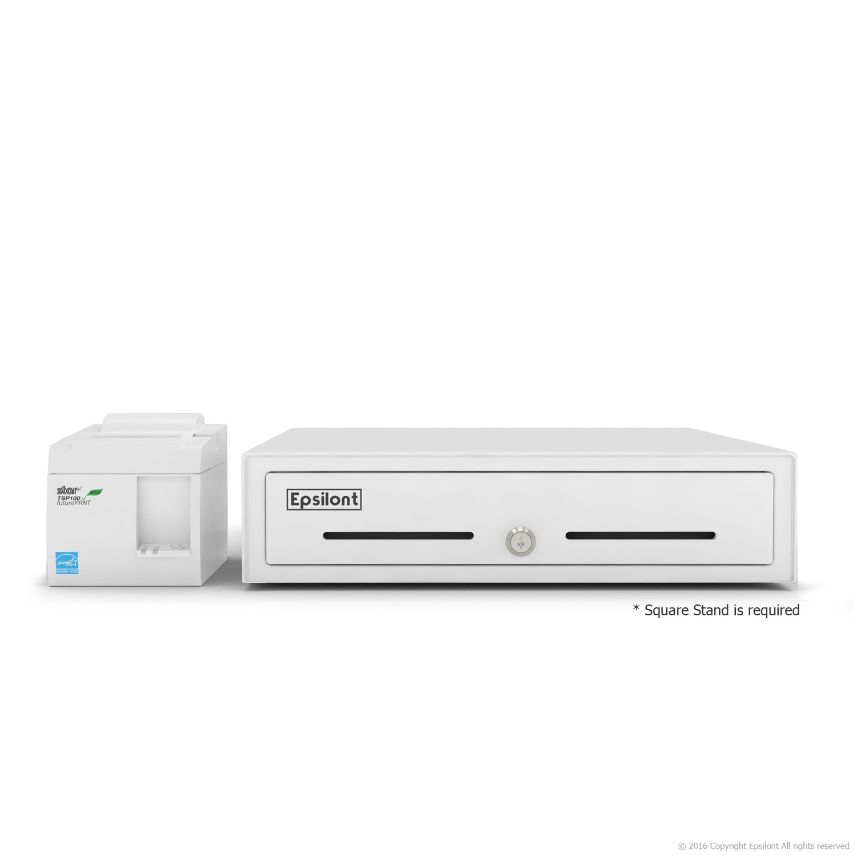 SQUARE POS HARDWARE BUNDLE - Star Micronics TSP143IIU 39464510 USB Printer and Epsilont Cash Drawer (USB Printer & Drawer White)