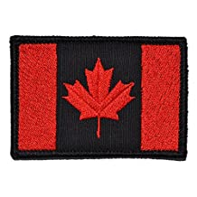 Canadian Flag Canada Maple Leaf 2x3 Military Patch / Morale Patch - Multiple Colors (Black with Red)