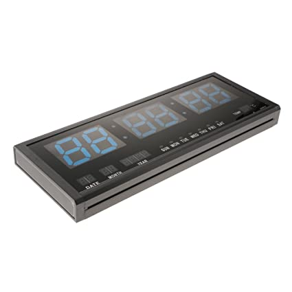 Baoblaze Calendario LED Digital Reloj Grande Jumbo Display de Mesa Reloj de Pared con Termómetro -