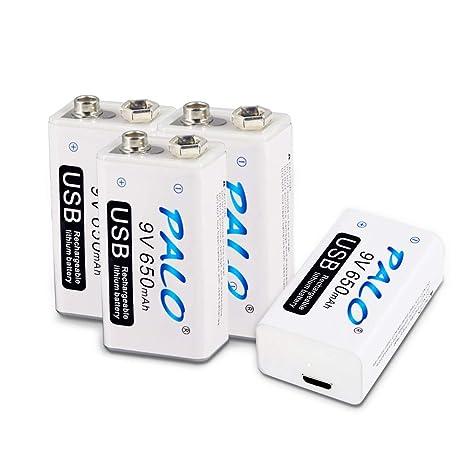 Palo USB 9V 650mAh Batería Recargable de Ion de Litio con Cable USB para Detector de