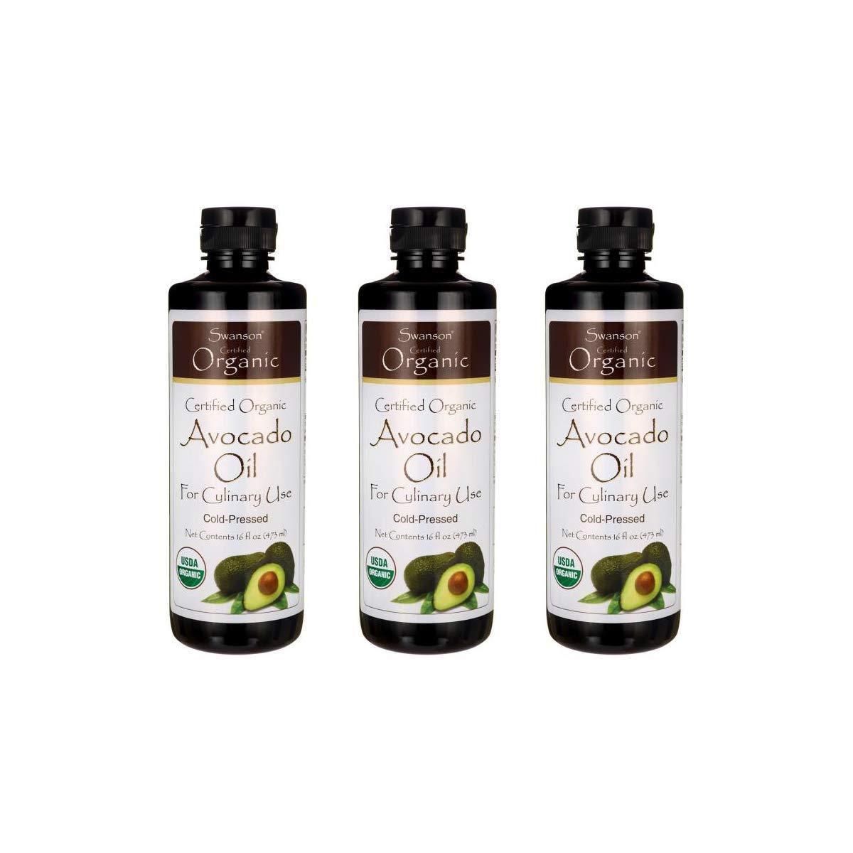 Swanson Certified Organic Avocado Oil 16 fl oz Liquid 3 Pack