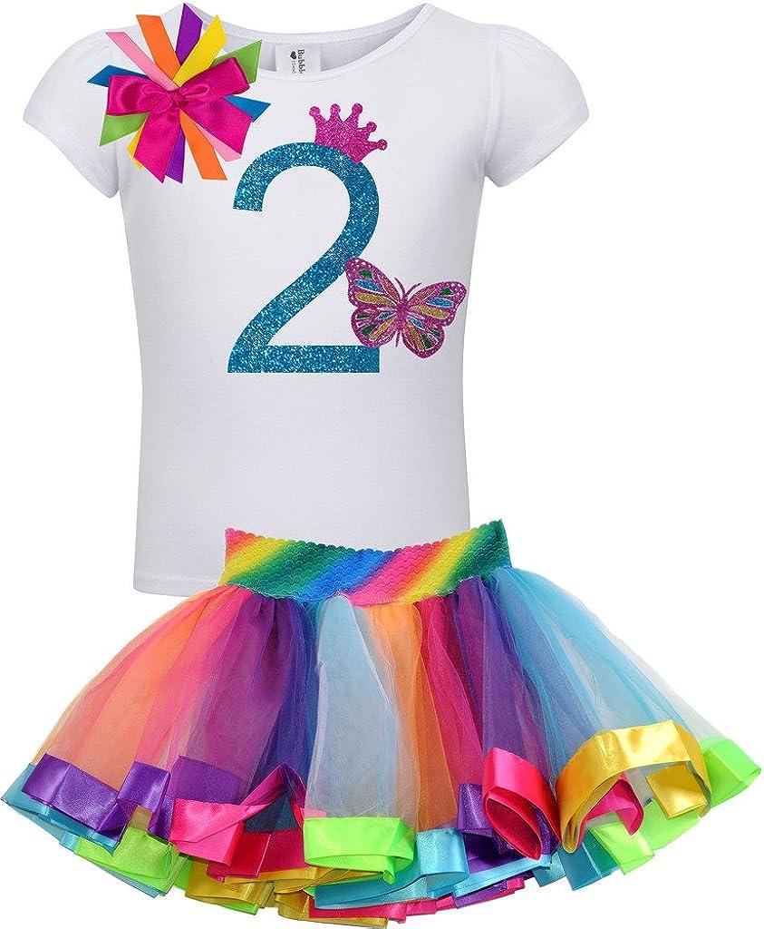 Bubblegum Divas Baby Girls 1st Birthday Butterfly Shirt Rainbow Tutu