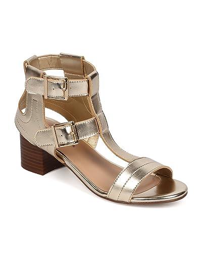sells online store latest design Amazon.com   Breckelle's Women Metallic Peep Toe T-Strap Low ...