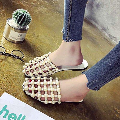 Chaussures Rond Femmes Blanc Sabot JITIAN Plage Perlé Mules Confort Casual Sandales Tongs Été Bout Plates Uwddf8q