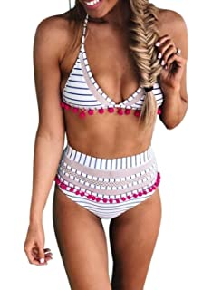 0e30c8f96e8d7 Aleumdr Womens High Waist Two Pieces Bikini Set Padded Stripe Tassel  Swimsuit