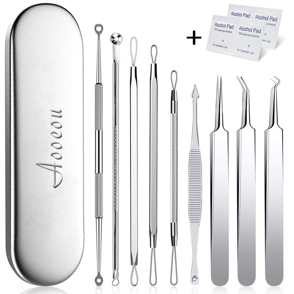 Pimple Popper Tool, Aooeou Stainless Steel Pimple Acne Blackhead Remover Curved Tweezer Treatment for Blemish, Whitehead, Zit Popping Pad with pad