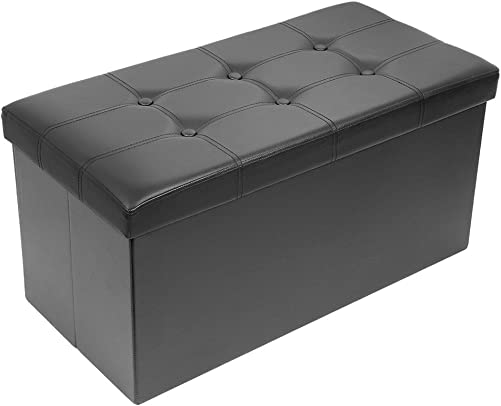 Amoiu 30″ L Faux Leather Folding Storage Ottoman Coffee Table Foot Rest Stool Seat Comfy Sponge Bench
