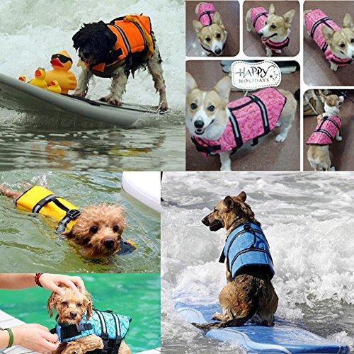 Gtpeak Dog Life Jacket Swimming Vest Saver with professional Flotation Device Reflective Stripe Adjustable Elastic Band Easy Grabbing Different Sizes by Gtpeak (Image #7)