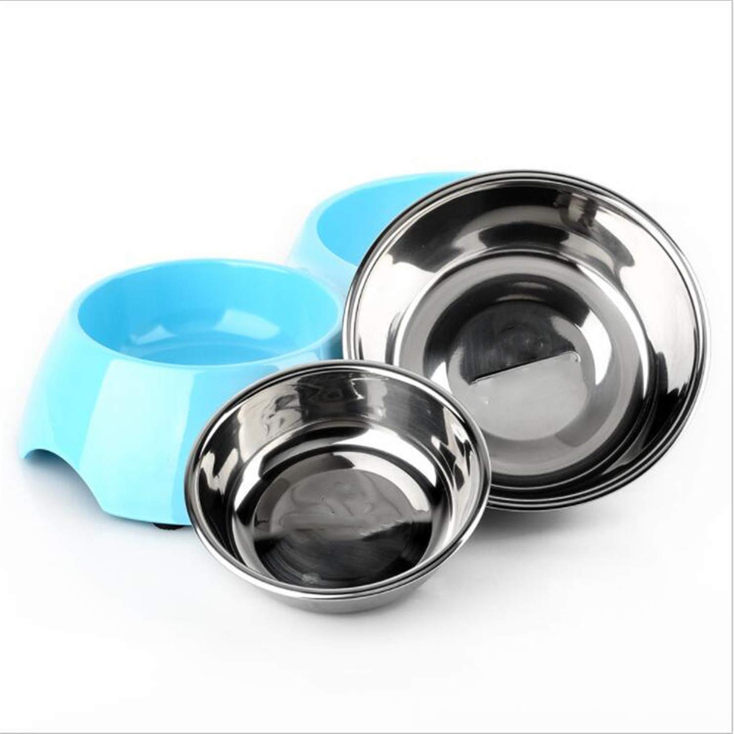 Small Dog Bowls,Water and Food Feeder,Double Bowls,Non Slip Stainless Steel,Inhibition of Bacteria,no Harm,High Temperature Resistance