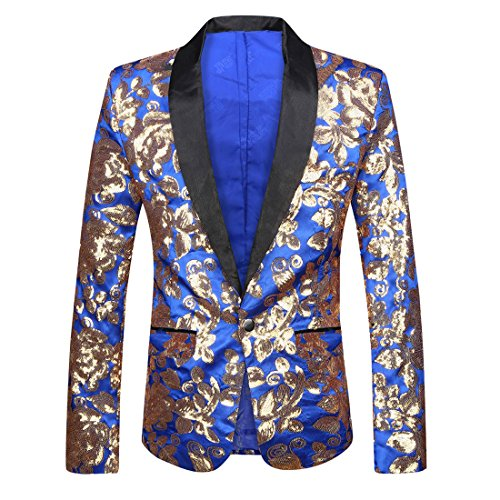 PYJTRL Men Stylish Satin Face Sequins Floral Pattern Suit Jacket Blazer (Blue, ()