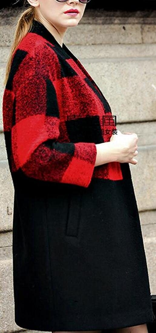 Xswsy XG Womens Plus Size Long Sleeve Plaid Color Block Overcoats Vogue Pea Coat
