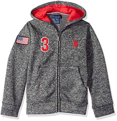 U.S. Polo Assn. Big Boys' Hooded Zip or Snap Fleece Jacket, Sweater Knit Red, 14/16 (Fleece Boys Zip Hooded Jacket)