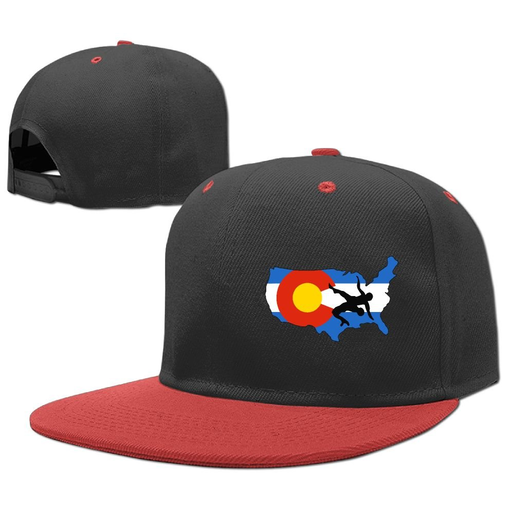 MAKS&&QA/1 Boys Girls Adjustable Four Seasons Flat Cap Colorado USA Wrestling Fitted Hats for Under 13