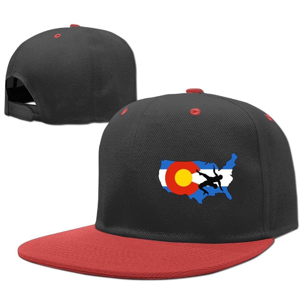 MAKS&&QA/1 Boys Girls Adjustable Four Seasons Flat Cap Colorado USA Wrestling Fitted Hats for Under 13 by MAKS&&QA/1