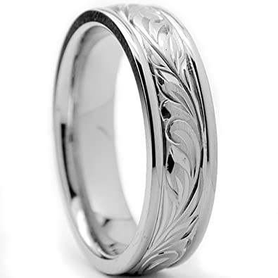 6MM Titanium Ring Wedding Band With Engraved Floral Design Size 8