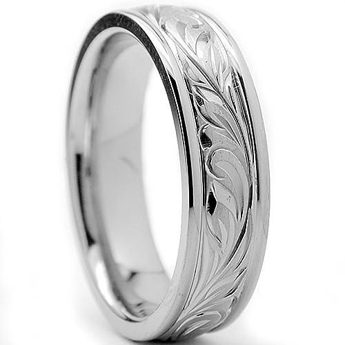 Ultimate Metals® Anillo de Matrimonio Titanio Unisexo, Banda Grabado a Mano Con Diseño Florentino 6mm: Amazon.es: Joyería