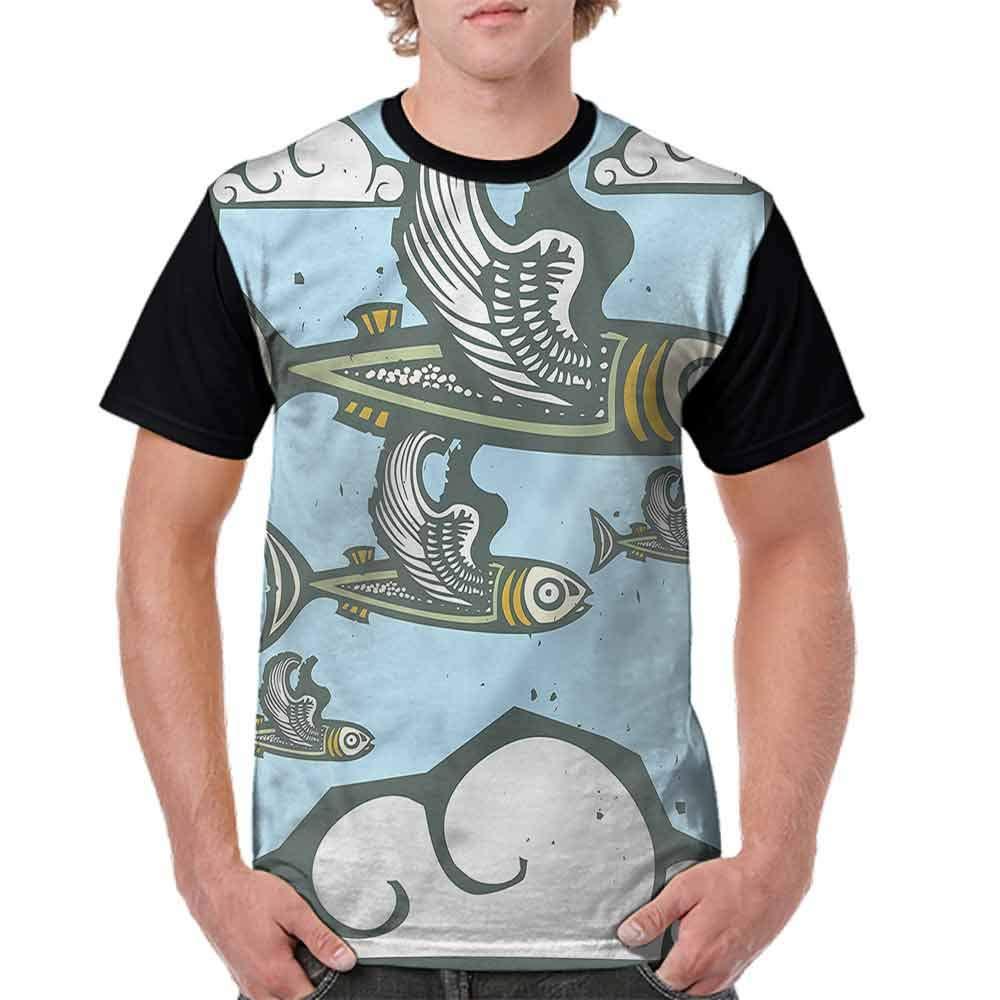 BlountDecor Round Neck T-Shirt,Flock of Fish with Wings Fashion Personality Customization