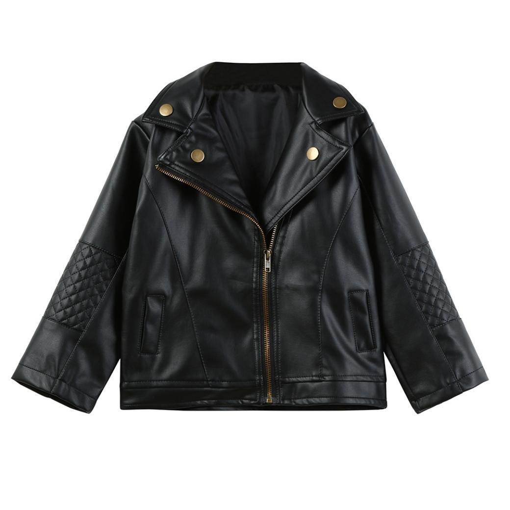 Residen 1-5Years Toddler Boys Girls Outfits- Unisex Gentleman Kids Short Jacket Outwear Faux Leather Coat Black (5 T, Black)