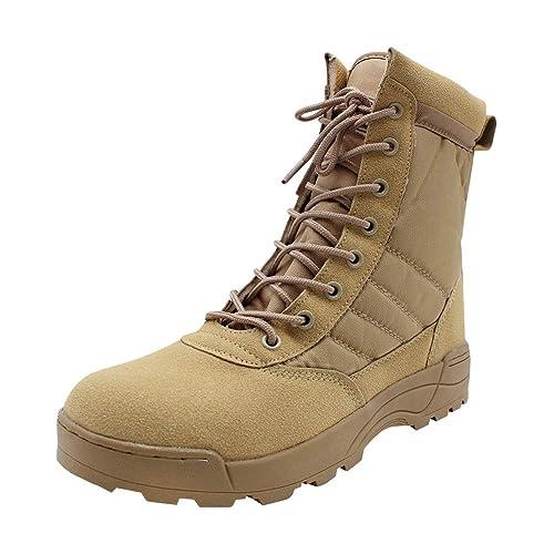 Yudesun Zapatos para Hombre Botas Militares Botines Desert - Nordic Walking Calzado de Trabajo Botas de Servicio Militar Tobillo Táctico Cuero ...