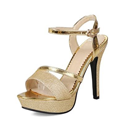 e41c7fb7ae5 Amazon.com | Alex Kuts High Heel Sandals Platform Buckle Thin Heel ...