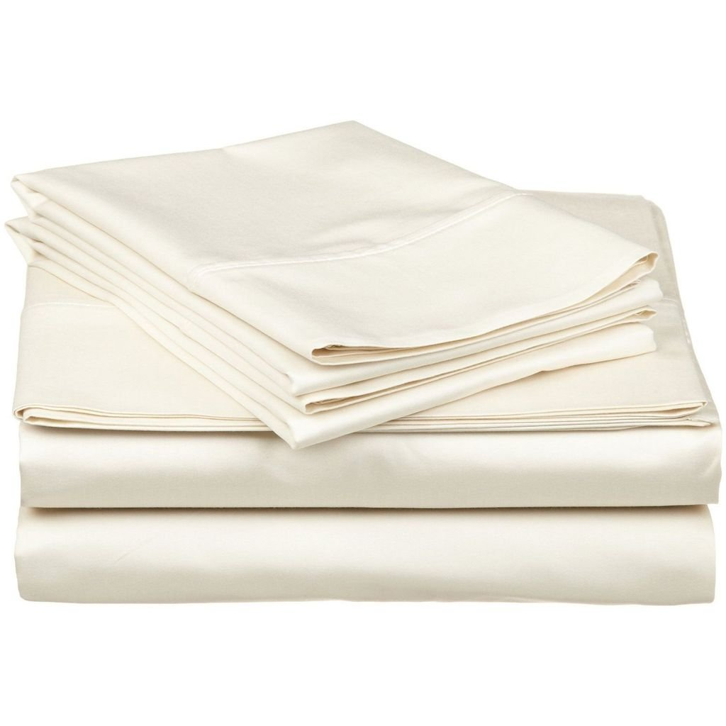 600 Thread Count 100% Cotton 3 Piece Set (1 Fitted Sheet & 2 Pillowcase), Long-staple Combed Pure Natural Cotton Bedsheets, Natural,Soft & Silky Sateen Weave 35 Cm Deep Pocket by Victoria Bedding (Double Size, Sage Stripe)