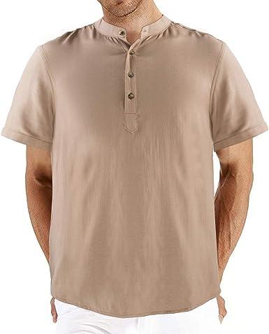 NGOZI Hombre Henley Lino Camisa de algodón Botón de Manga Corta ...