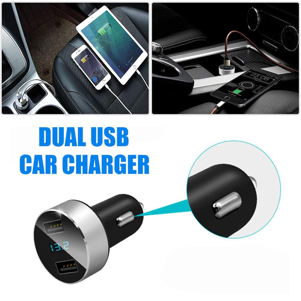 volt/ímetro de panel de voltaje iPod 12 V//24 V carga r/ápida a toda velocidad para iPhone puerto dual USB 4,8 A adaptador de metal para coche con pantalla digital LED Cargador de coche iPad