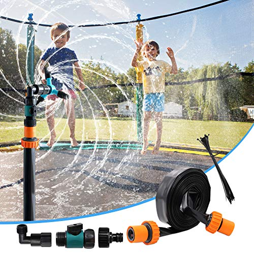 EFFUN Trampoline Sprinkler for Kids, Trampoline Sprinklers for Kids, Outdoor Water Play Sprinklers, Trampoline Spray Water Park Fun Summer Water Toys for Boys Girls(39ft)