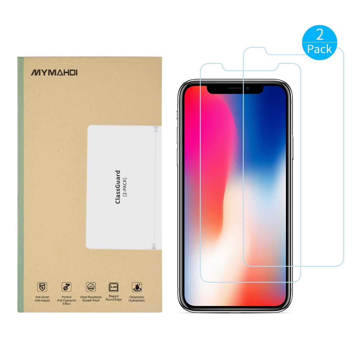 MYMAHDI iPhone X Screen Protector, 2 Pack Tempered Glass and 1 Camera Screen Protector Anti-fingerprint High Light Penetration Ratio 9H Hardness Anti-scratch Bubble Free [Easy Install] [Ultra Clear]