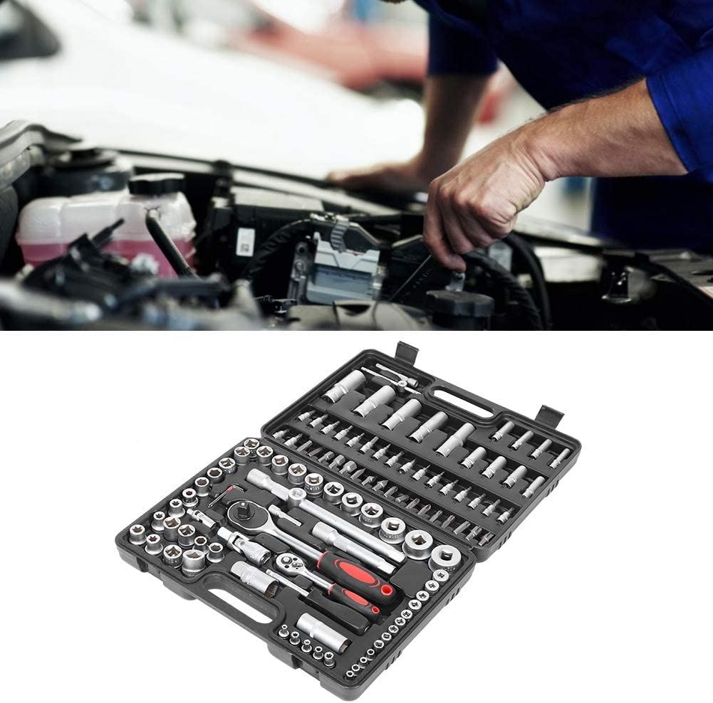 Precision Ratchet Wrench Set 108pcs 1//2in 1//4in Car Socket Wrench Sleeve Suit Hardware Repair Hand Tools Set for Precise Repair or Maintenance