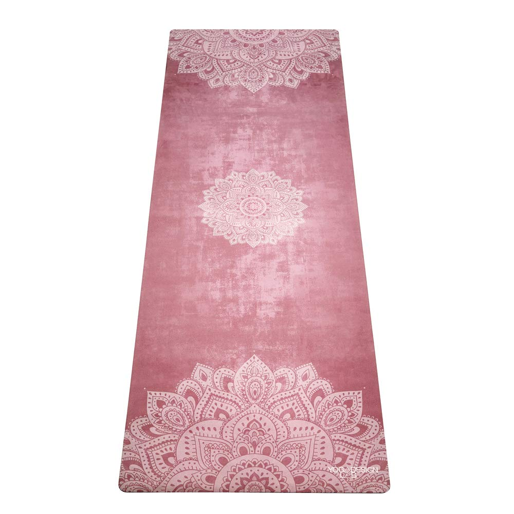 YOGA DESIGN LAB | Commuter Yoga Mat | 2-in-1 Mat+Towel | Lightweight, Foldable, Eco Luxury | Ideal for Hot Yoga, Bikram, Pilates, Barre, Sweat | 1.5mm Thick | Includes Carrying Strap! (Mandala Ginger)