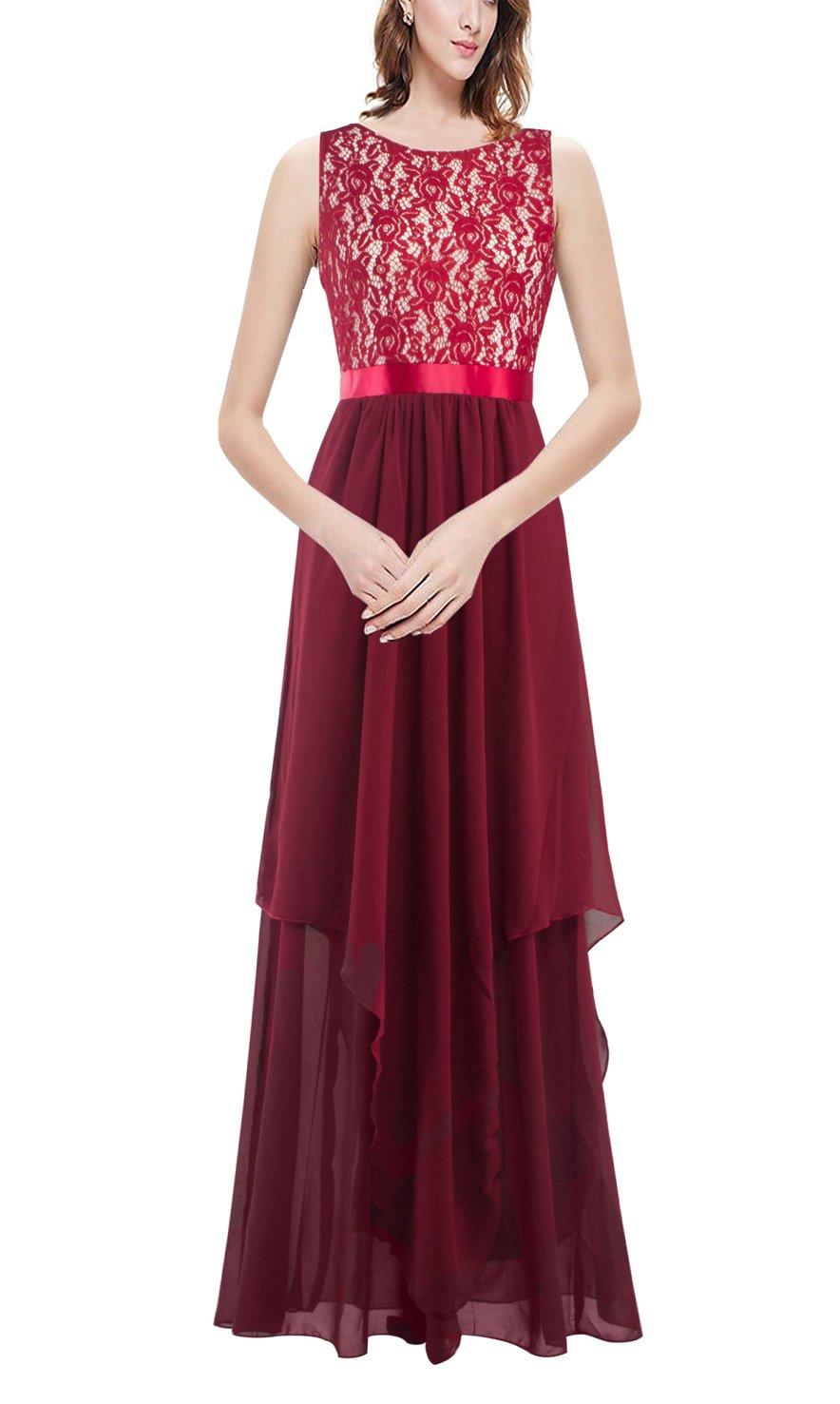 DoubleYI Damen Elegant Kleider Lang Spitzen Chiffon Abendkleid Maxikleid  Cocktailkleid: Amazon.de: Bekleidung