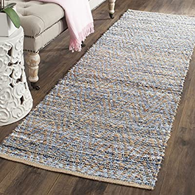 "Safavieh Cape Cod Collection CAP350A Hand Woven Flatweave Chevron Natural and Blue Jute Runner (2'3"" x 10') - Natural jute is used to make this everyday rug Each rug is handmade and handwoven to add style and durability This rug features a traditional woven pattern - runner-rugs, entryway-furniture-decor, entryway-laundry-room - 615JOLbHtNL. SS400  -"