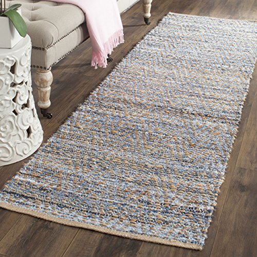 "615JOLbHtNL - Safavieh Cape Cod Collection CAP350A Hand Woven Flatweave Chevron Natural and Blue Jute Runner (2'3"" x 10')"