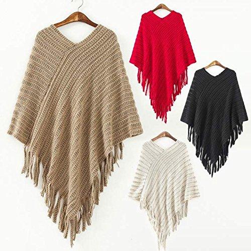 Knit Bed Jacket (Warm Women Knit Batwing Cape Tassels Poncho Cloak Jacket Coat Outwear Hot Sale)