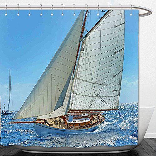 42' Deluxe Wood (Interestlee Shower Curtain Nautical Deluxe Sailboat on Sea Regatta Race Yatch Windy Weather Competition Luxury Blue White Brown)