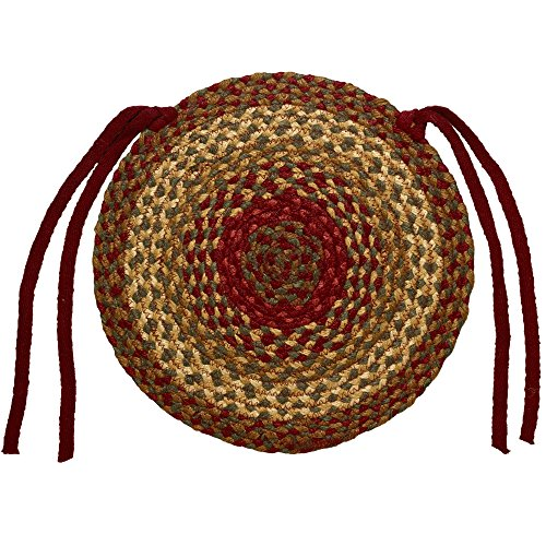 Cinnamon 15 Inch Braided Chair Pad by IHF - Set of 4 (Set Rug Braided)